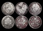 World Coins - British India, William IV (1834-1837), Silver Rupees, Calcutta mint, a lot of (3) coins
