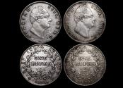 World Coins - British India, William IV (1834-1837), Silver Rupees, Bombay and Calcutta mint, a lot of (2) coins