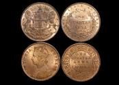 World Coins - British India, East India Co., 1/4 Anna, 1858, KM# 463.1 (1), 1/4 Anna, 1889C, KM# 486 (1), UNC, a lot of (2) coins