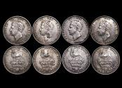 World Coins - Great Britain, George IV (1820-1834), Silver Shillings, 2nd type, 1825 (1), 1826 (3) one with BH counterstamp on neck, EF-AU, a lot of (4) coins