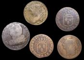 World Coins - France, Louis XV (1715-1774) and Louis XVI (1774-1793), a lot of (5) coins