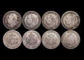 World Coins - Portuguese India, Luiz I (1861-1889), Silver Half Rupias, 1882, KM11, VF-EF, a lot of (4) coins