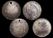 World Coins - Mexico, Charles IV, Silver 8 Reales, 1806 Mexico City, EF (1), HOLED, Republic, Silver 8 Reales, 1897 R S, UNC (1), a lot of (2) coins