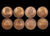 World Coins - British India, Victoria (1837-1901), Copper 1/4 Anna, 1889c, KM# 486, UNC a few spots, a lot of (4) coins