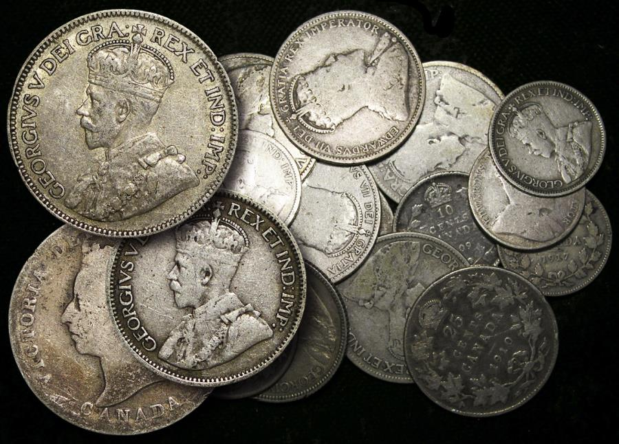 World Coins - Canada, Mixed Silver Lot, Victoria - George V, F-EF, a lot of (16) coins