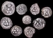 Ancient Coins - Ancient India, Taxila-Pushkalavati City Coinage (2nd Century BCE), 1/4 Karshapana, a lot of (9) coins