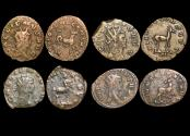 "Ancient Coins - Gallienus (253-68 CE), Billon Antoninianus, ""Animals and Mythical Creatures"" series, Hippocamp (1), Gazelle (1), Centaur (1), Doe (1), VF or better, a lot of (4) coins"