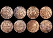 World Coins - British India, East India Company, Copper Quarter Annas, 1858, single leaf wreath tips (4), a lot of (4) coins
