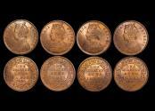 World Coins - British India, Victoria (1837-1901), Copper 1/4 Anna, 1880c (1), 1889c (3), KM# 486, UNC a few spots, a lot of (4) coins