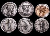 Ancient Coins - Roman Imperial, Silver Denarii, Julia Domna (193-217 CE) (1), Geta as Caesar (2), a lot of (3) coins