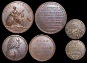 World Coins - British Historical Medals, reign of George III, Copper Medals (2) and Copper Trade Token (1), EF-UNC, a lot of (3) items