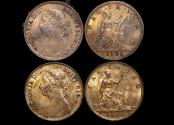 World Coins - Great Britain, Victoria (1837-1901), Bronze Farthing, 1891 AU some lustre (2), a lot of (2) coins