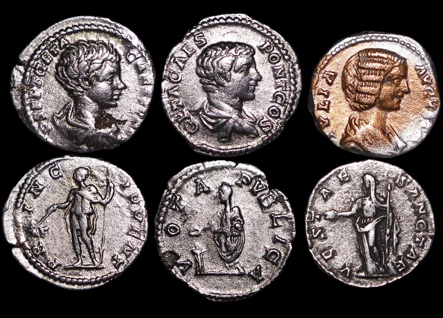 Ancient Coins - Roman Imperial, Silver Denarii, Julia Domna (193-217 CE) (1), Geta as Caesar (2), a lot of (3) coins