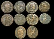 Ancient Coins - Roman Empire, Commemorative Issue struck (c.317 CE) under Constantine the Great in honor of Maximian (died 310 CE), Billon Half Follis, a lot of (5) coins