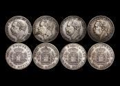 World Coins - Portuguese India, Luiz I (1861-1889), Silver Rupia, 1881, KM312, VF, a lot of (4) coins