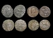 """Ancient Coins - Gallienus (253-68 CE), Billon Antoninianus, """"Animals and Mythical Creatures"""" series, Panther (1), Griffin (1), Pegasus (1), Stag (1), VF or better, a lot of (4) coins"""