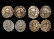 "Ancient Coins - Gallienus (253-68 CE), Billon Antoninianus, ""Animals and Mythical Creatures"" series, Hippocamp (1), Panther (1),  Doe (1), Stag (1), VF or better, a lot of (4) coins"