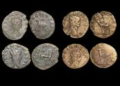"""Ancient Coins - Gallienus (253-68 CE), Billon Antoninianus, """"Animals and Mythical Creatures"""" series, Gazelle (1), Stag (1), Hippocamp (1), Antelope (1), VF or better, a lot of (4) coins"""