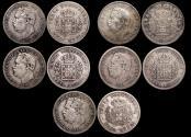 World Coins - Portuguese India, Luiz I (1861-1889), Silver Half Rupias, 1881, KM11, VF-EF, a lot of (5) coins