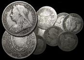 """World Coins - Great Britain, Victoria (1837-1901), """"Veiled Head"""" Silver Halfcrowns, mixed dates, a lot of (11) coins"""