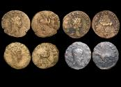 """Ancient Coins - Gallienus (253-68 CE), Billon Antoninianus, """"Animals and Mythical Creatures"""" series, Pegasus (1), Stag (1), Doe (1), Panther (1), VF or better, a lot of (4) coins"""