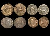 "Ancient Coins - Gallienus (253-68 CE), Billon Antoninianus, ""Animals and Mythical Creatures"" series, Pegasus (1), Panther (1), Gazelle (1), Antelope (1),  VF or better, a lot of (4) coins"