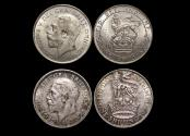 World Coins - Great Britain, George V (1910-1936), Silver Shilling, dated 1922 (1) UNC and 1928 (1) AU, a lot of (2) coins