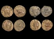 """Ancient Coins - Gallienus (253-68 CE), Billon Antoninianus, """"Animals and Mythical Creatures"""" series, Panther (1), Centaur (1), Pegasus (2),  VF or better, a lot of (4) coins"""