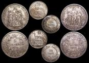 Ancient Coins - France, Third Republic, Silver 5 Francs, 1873 (1), 1874 (1), Indo-Chine, 20 Cents, 1937 (2), a lot of (4) coins
