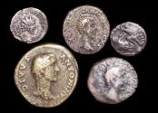 Ancient Coins - A Mixed Lot of Roman Bronze Coins, First to Fourth Centuries, a lot of (5) coins
