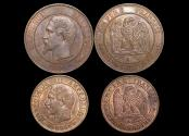 World Coins - France, 2nd Empire, Napoleon III (1852-1870), 10 Centimes and 5 Centimes, a lot of (2) coins