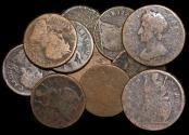 World Coins - England, Charles II (1660-1685), Copper Farthings, mixed dates, Fair- F, a lot of (9) coins