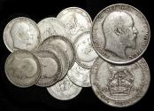 World Coins - Great Britian, Edward VII (1901-1910), Silver Shillings, F-VF, a lot of (10)) coins