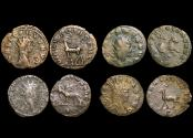 """Ancient Coins - Gallienus (253-68 CE), Billon Antoninianus, """"Animals and Mythical Creatures"""" series, Doe (1), Hippocamp (1), Griffin (1), Antelope (1), VF or better, a lot of (4) coins"""