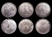World Coins - Mexico, Republic, Peso, 1898 Mo AM (1), 1901 Mo AM (1), 1908 MO AM (1), a lot of (3) coins