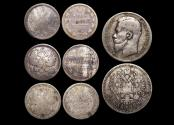 World Coins - Russia, Imperial, Mixed Silver, F-VF, a lot of (4) coins