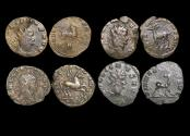 "Ancient Coins - Gallienus (253-68 CE), Billon Antoninianus, ""Animals and Mythical Creatures"" series, Hippocamp (1), Stag (1), Pegasus (1), Doe (1), VF or better, a lot of (4) coins"