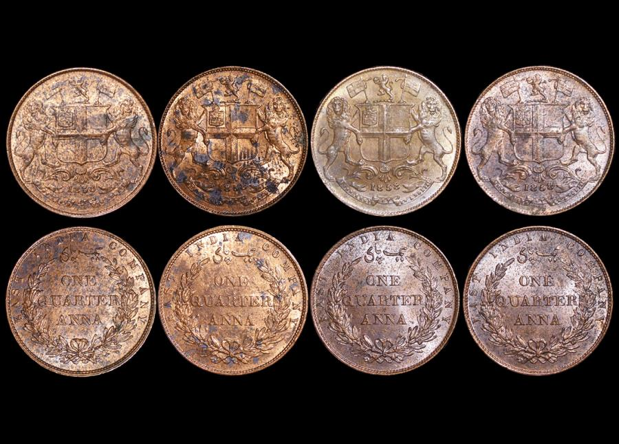 British India, East India Company, Copper Quarter Annas, 1858, single leaf  wreath tips (4), a lot of (4) coins