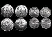 World Coins - Germnay, Weimar Republic, Aluminum 3 Mark, 1922A (1), 1922G (1) KM#29, 50 Pfennig, 1921G (1), 1921F (1), KM# 27, UNC, a lot of (4) coins