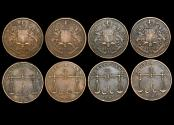 World Coins - British East India Co., Bombay Presidency, 1/4 Anna, Bombay mint, 1833/1249 (4) KM 232, VF-EF, a lot of (4) coins