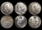 World Coins - British India,  Edward VII (1901-1910), Silver Rupees, Calcutta mint, a lot of (3) coins