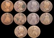 World Coins - England, Charles II (1660-1685), Copper Farthings, 1672 (3), 1673 (1), 1675 (1) a lot of (5) coins