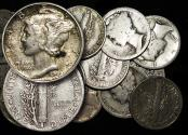 World Coins - USA, Mercury Dimes, a Mixed Lot, F-EF, a lot of (13)