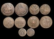 World Coins - Russia, Empire, Peter the Great - Nicholas I, Mixed Copper, VF or better, a lot of (5) coins
