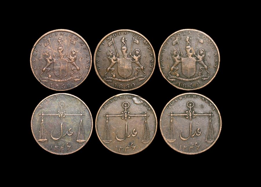 World Coins - British East India Co., Bombay Presidency, 1/4 Anna, Bombay mint, 1830/1246 (3), KM 231.1, VF, a lot of (3) coins