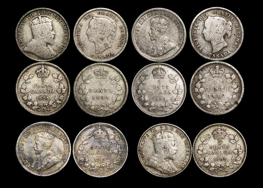 World Coins - Canada, Silver 5 Cents, 1893 (2), 1905 (1), 1907 (1), 1917 (1), 1920 (1), VF, a lot of (6) coins