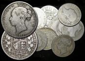 """World Coins - Great Britain, Victoria (1837-1901), """"Young Head"""" Silver Halfcrowns, mixed dates, a lot of (12) coins"""