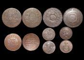 World Coins - Brazil, Empire, Copper 40 Reis, 1803 (1), 80 Reis, 1820 B (1), 10 Reis, 1821 R (1), Countermarked 40 Reis on 80 Reis (1), Bronze 20 Reis, 1869 CL (1), VF-EF, a lot of (5) coins
