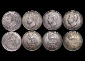 World Coins - Great Britain, George IV (1820-1834), Silver Shillings, 1st type, 1824 (1), 2nd type, 1826 (3), EF, a lot of (4) coins