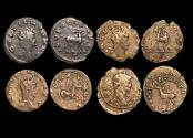 "Ancient Coins - Gallienus (253-68 CE), Billon Antoninianus, ""Animals and Mythical Creatures"" series, Goat (2), Hippocamp (1), Stag (1), VF or better, a lot of (4) coins"